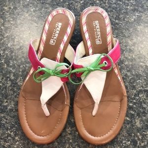 Sperry Top-Sider sz7 leather mini wedge sandals